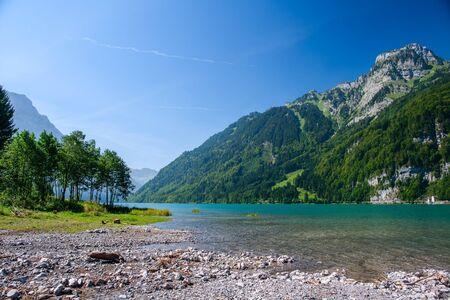 european alps: Mountain lake at Kloental, Glarus, Switzerland