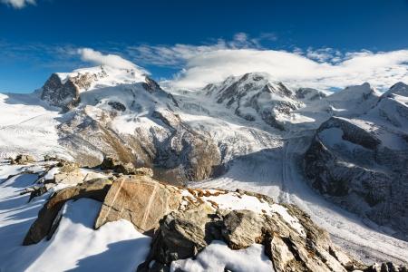 glacier: Monte Rosa and Lyskamm mountain panorama from Gornergrat, Zermatt, Switzerland
