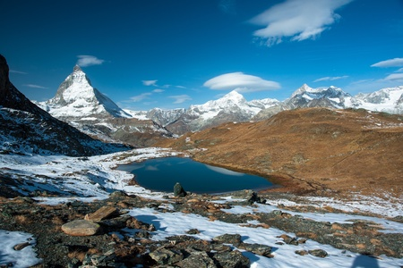 blanche: Riffelsee with Matterhorn, Dent Blanche and Obergabelhorn mountain peaks, Zermatt, Switzerland