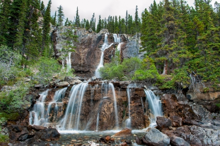 alberta: Tangle Creek Falls in Jasper National Park, Alberta, Canada Stock Photo