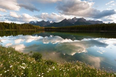 icefield: Herbert Lake panorama in Banff National Park, Alberta, Canada Stock Photo