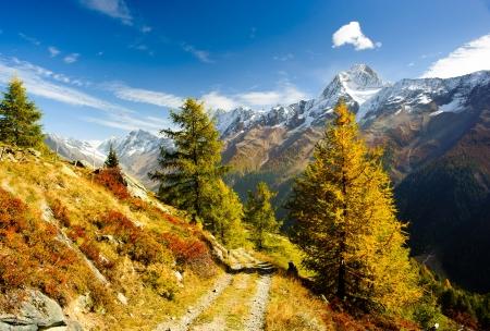swiss alps: Bietschorn szczyt jesieniÄ… szlak turystyczny. Widok z Laucheralp, Loetschental, Wallis, Szwajcaria Zdjęcie Seryjne