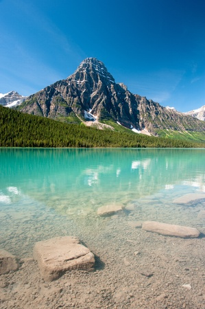 icefield: mistaya lake panorama on the icefield parkway in banff national park, alberta, canada Stock Photo