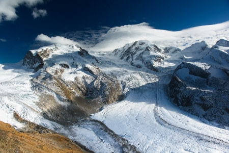 zermatt: Monte Rosa and Lyskamm mountain panorama from Gornergrat, Zermatt, Switzerland