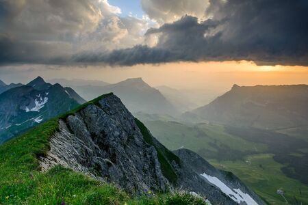 berner: Panoramic mountain view from Brienzer Rothorn at Sunset, Berner Oberland, Switzerland