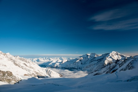 valais: Panoramic view from Mittelallalin, Saas Fee, Valais, Switzerland