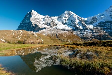 swiss alps: Eiger panorama górska Monch z kleine Scheidegg, Grindelwald, Szwajcaria