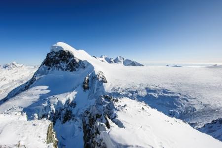valais: Breithorn mountain peak. View from kl. Matterhorn, Zermatt, Switzerland