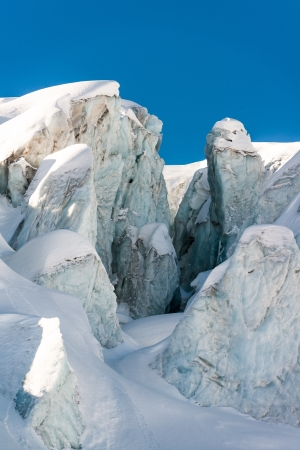 crevasse: glacial crevasse and ice structures in a glacier above saas fee, valais, switzerland
