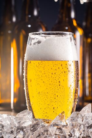 unbottled: Beer and ice Stock Photo