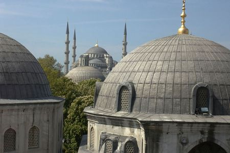 Main mosque of Istanbul - Sultan Ahmet camii. Most famous as Blue mosque. View from  �hurch of Saint Sophia. Stock Photo - 517593