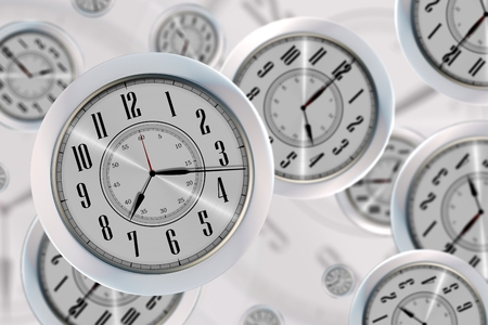 Flying Clocks Concept Illustration with Flying Modern Wall Clocks. Stock Photo