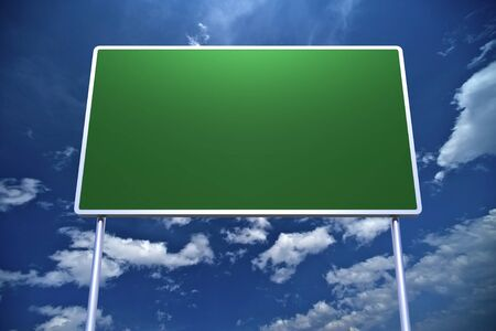 green road sign: Large Empty Road Sign on Blue Cloudy Sky Background.