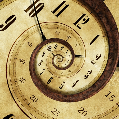 Endless Time Effect Concept Illustration - Vintage Clock Swirl Effect. Archivio Fotografico