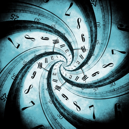 Time Vortex Concept Illustration with Swirled Time by Black Hole.