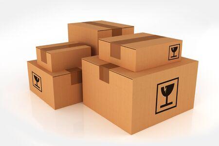 magazine stack: Shipping Boxes Pile. Cardboard Boxes Isolated on White Background. Stock Photo