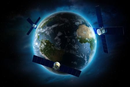 orbiting: Orbiting Satellites Around the Earth. Global Satellite Communication Concept Illustration. Communication Technology Conceptual Illustration. Stock Photo