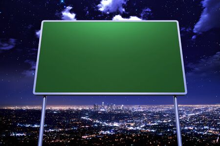 overnight: Direction Sign and Cityscape at Night. Sign Concept Illustration.