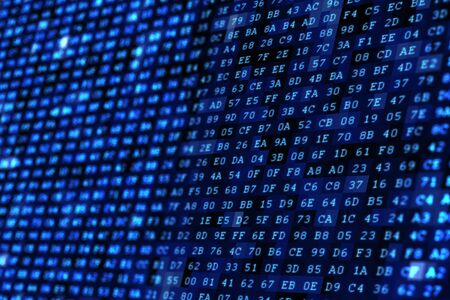 Blue Digital Wall. Algorithm Wall Background. Technology Concept. Archivio Fotografico