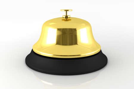 Golden Reception Bell 3D Render Illustration. Hotel Reception Bell. illustration
