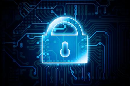 デジタル暗号化のロックの概念図。IT 技術でデータの安全性。