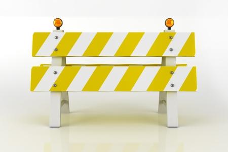 Road Barricade Sign. Road Closed Sign with Warning Flashing Lighting. 3D Illustration. illustration
