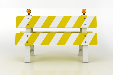 road closed: Road Barricade Sign. Road Closed Sign with Warning Flashing Lighting. 3D Illustration.
