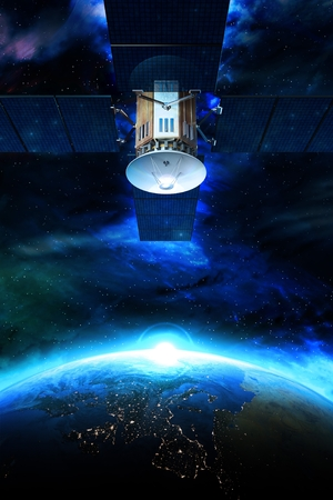 data transmission: Communication Satellite  Above the Earth Conceptual Illustration. Communication Technology Concept.