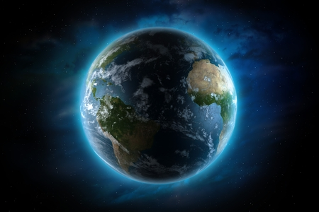 galactic: Planet Earth Illustration. Four Continents. Europe, North America, Africa and South America. 3D Render Illustration.
