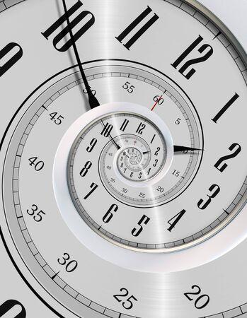 never ending: Spinning Clock. Never Ending Time Concept Illustration. Modern Silver Clock Vortex.