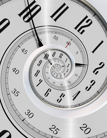 Spinning Clock. Never Ending Time Concept Illustration. Modern Silver Clock Vortex.