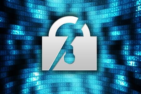 Cracked Encryption. Digital Safety Concept Illustration. Cracked Lock on Digital Background. Stock Illustration - 28352328