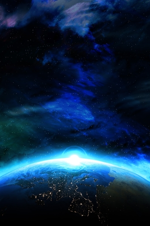 Rising Planet. Planet Earth Vertical Concept Illustration. Space Background.