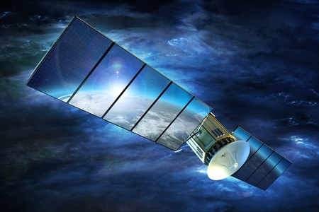 Television Signal Satellite with Large Solar Panels on Earth Orbit. 3D Render Illustration. Broadband Television Technology.