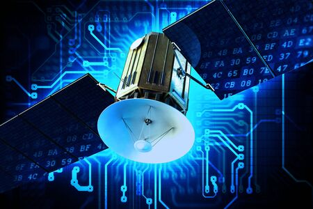 Satellite Technology Concept Illustration. Communication Satellite on Circuit Board Blue Technology Background. illustration
