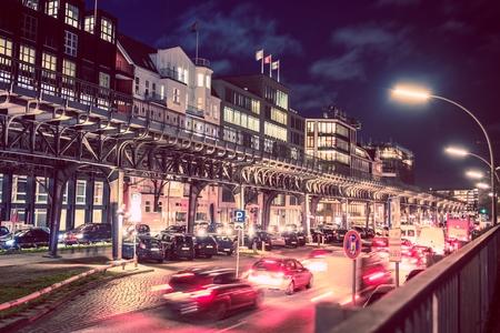 Hamburg Traffic Rush at Night. Hamburg, Germany, Europe.