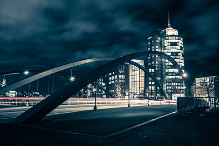 One Night in Hamburg. City of Hamburg Bridge. Germany, Europe. Dark Blue Color Grading. 스톡 콘텐츠