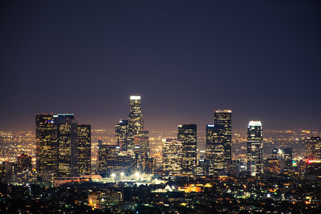 los angeles: Downtown Los Angeles USA at Night. Los Angeles Panorama. California, United States. Stock Photo