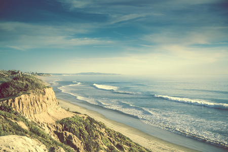 ocean: Encinitas California Ocean Shore, United States. Sandstone Cliff and the Sandy Beach Stock Photo