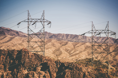 volts: High Voltage Power Line in Nevada Near Hoover Dam. Las Vegas Power Lines.