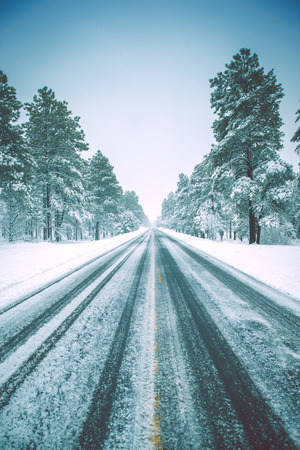 Icy Winter Road in American Southwest. Winter Forest Road. Stock fotó