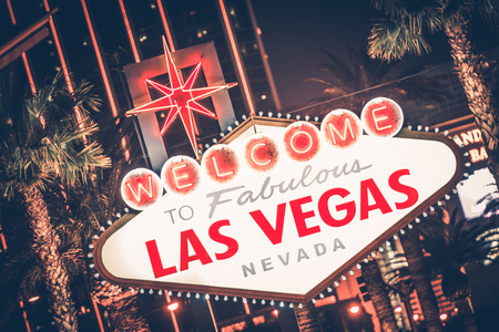 Las Vegas Nevada Famous Strip Sign at Night. United States.