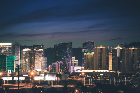 Las Vegas Strip Panorama. Vegas Skyline at Night. Nevada, United States.
