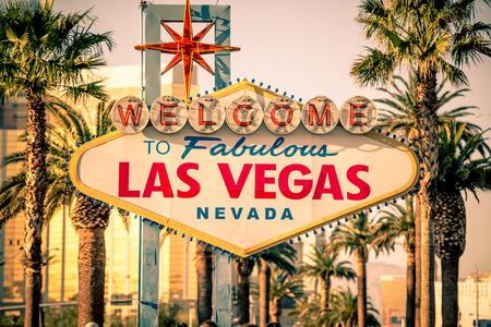 Las Vegas Welcomes You. Vegas Strip Sign. Famous Nevada Landmark. United States.