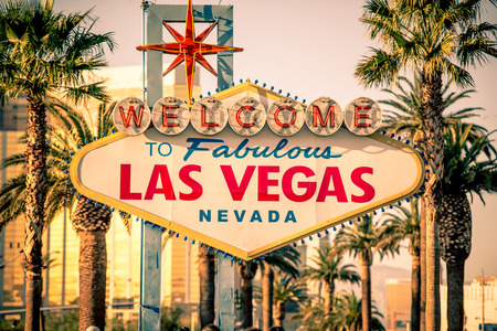 Las Vegas Welcomes You. Vegas Strip Sign. Famous Nevada Landmark. United States.