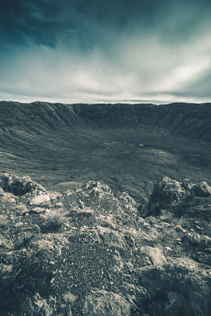 crater: Meteor Crater Landscape. North Arizona United States. Impact Site. Stock Photo