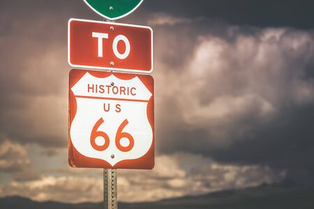 highway sign: Route 66 Highway Sign in Northern Arizona, United States.