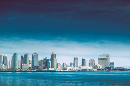 colorfu: San Diego Bay. City of San Diego Summer Skyline Panorama. California, USA Stock Photo