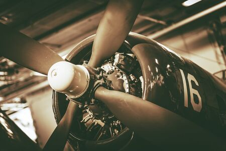grading: Vintage Military Aircraft Propeller Closeup Photo. Vintage Color Grading. Stock Photo