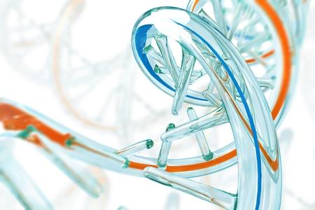 Glassy DNA Molecule 3D Concept Illustration.